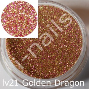 Akryl i-nails LAS VEGAS 5g kolorowy z brokatem lv21 Golden Dragon