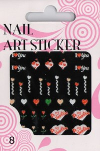 Naklejki 3D NAIL ART STICKER nas8 Be My Valentine